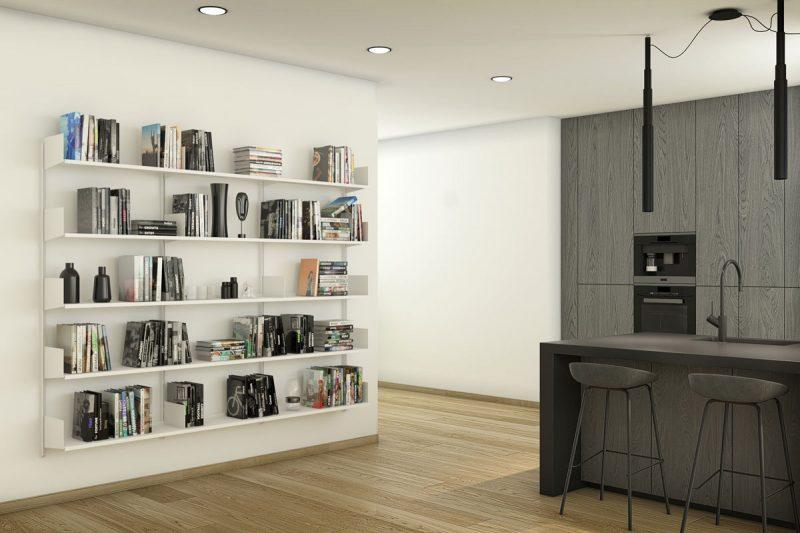 Libreria Pallucco Continua modulare bianca da muro da cucina