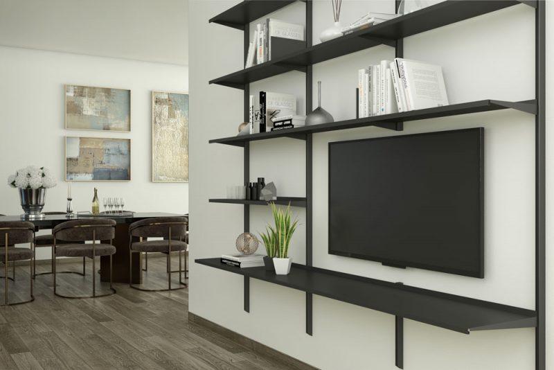 Libreria Pallucco Continua modulare nera da muro in salotto