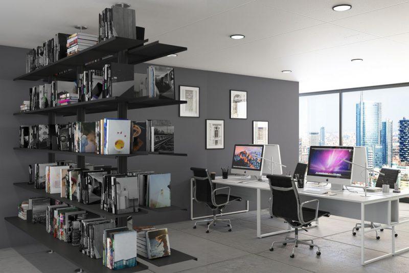 Libreria Pallucco Continua modulare bifacciale nera in ufficio