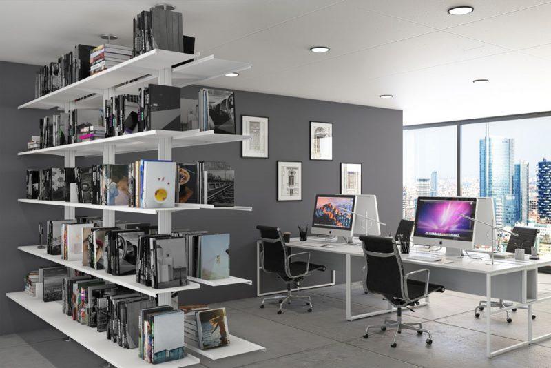 Libreria Pallucco Continua modulare bifacciale bianca in ufficio