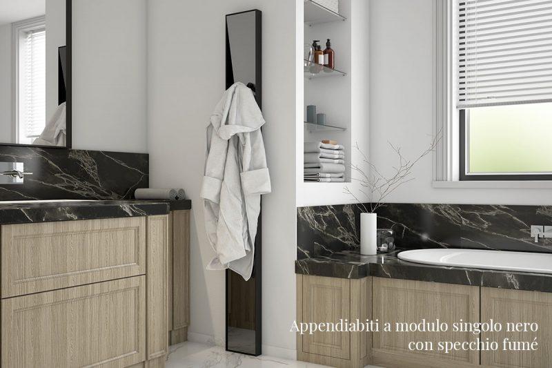 Appendiabiti Pallucco Lagronda a modulo singolo nero con specchio fumé