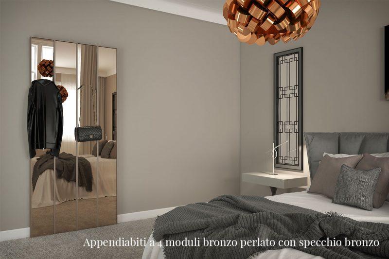 Appendiabiti Pallucco Lagronda a 4 moduli bronzo perlato con specchio bronzo
