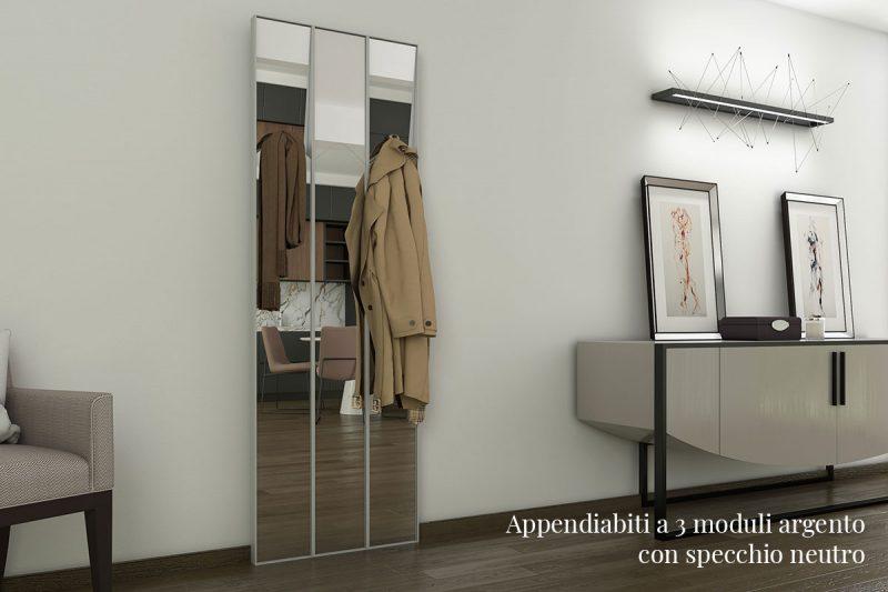 Appendiabiti Pallucco Lagronda a 2 moduli argento con specchio chiaro