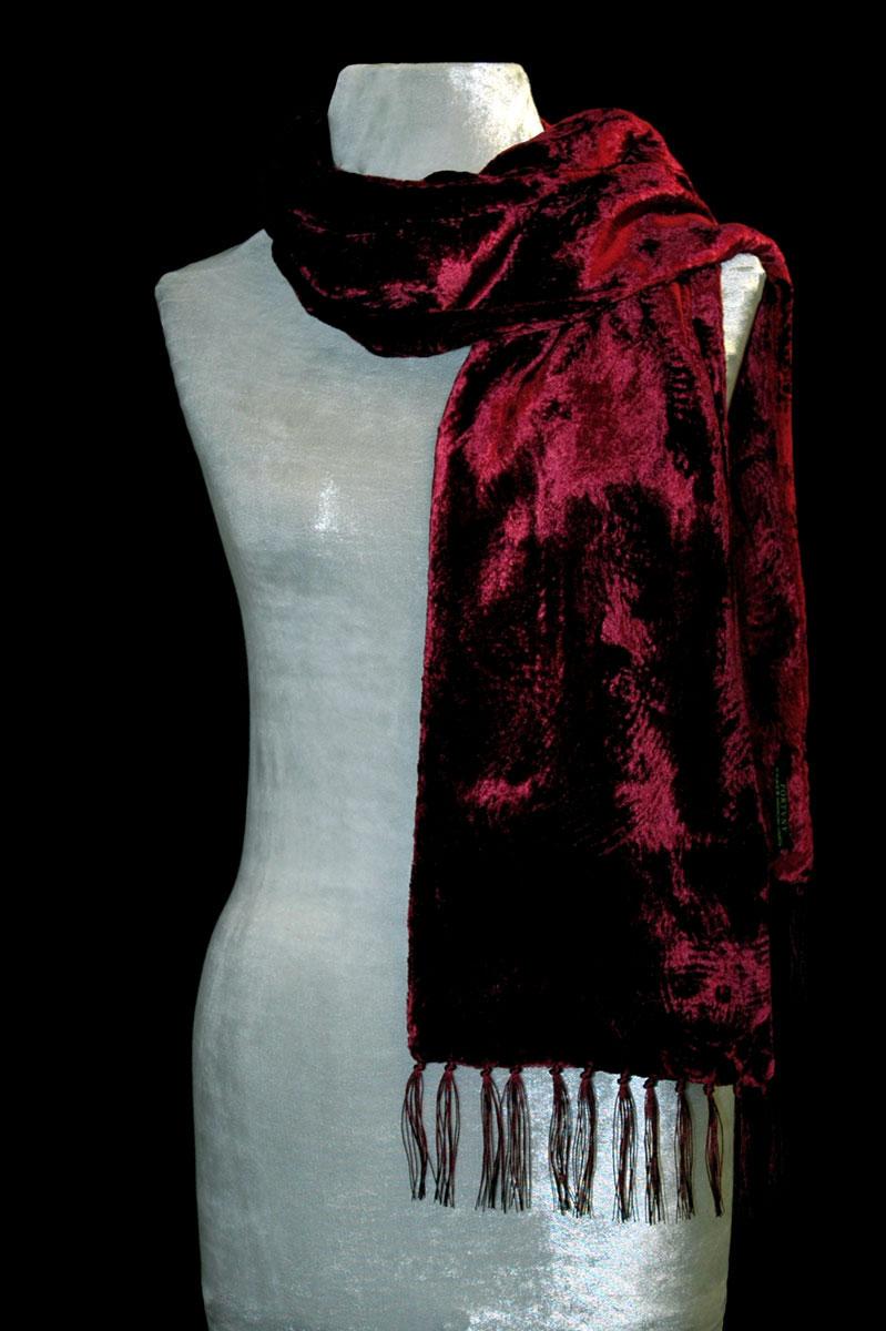 Sciarpa Fortuny in velluto riccio rosso scuro con frange