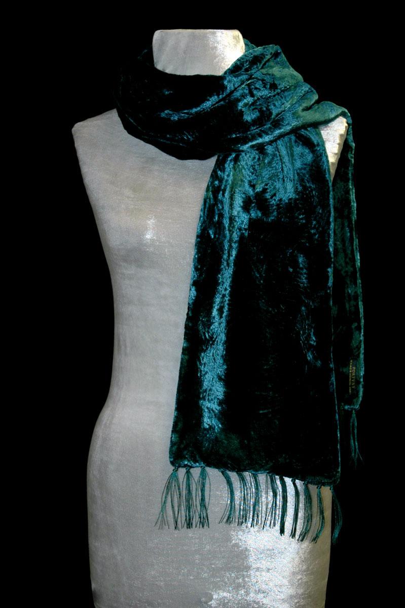 Sciarpa Fortuny in velluto riccio blu ottanio scuro con frange