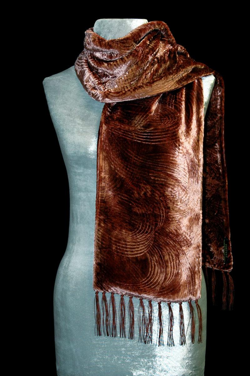 Sciarpa Fortuny in velluto riccio color ruggine con frange