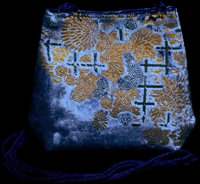 Borsa Gioia in velluto blu stampato a mano