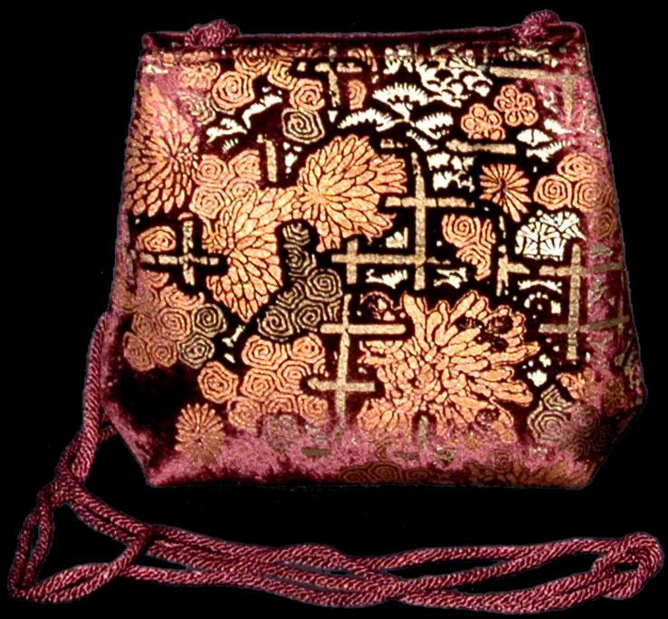 Borsa Fortuny Gioia in velluto bordeaux stampato a mano