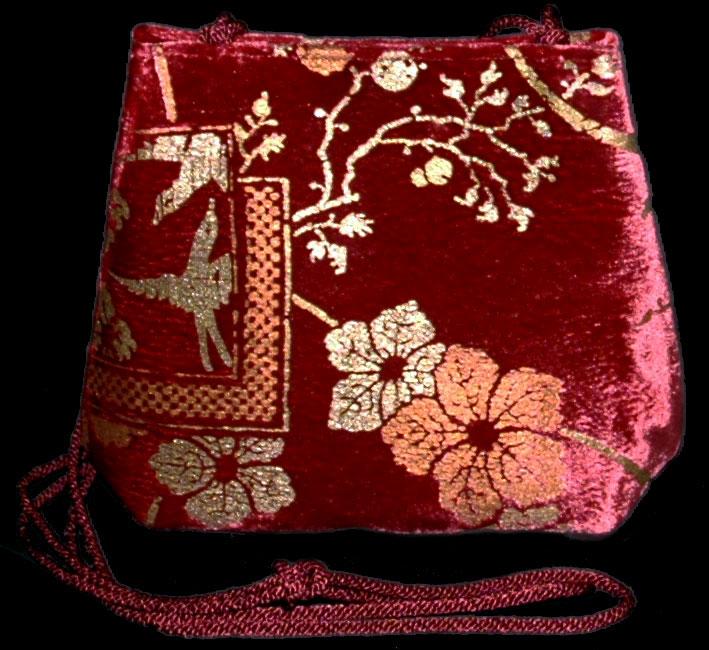 Borsa Fortuny Gioia in velluto rosso caminio stampato a mano