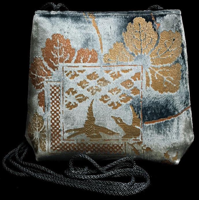 Fortuny Gioia blue green hand printed velvet bag