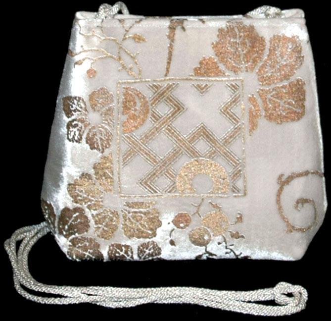Borsa Fortuny Gioia in velluto bianco stampato a mano