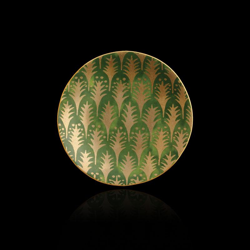 Set piatti canapé Fortuny Piumette verde (4 pezzi)