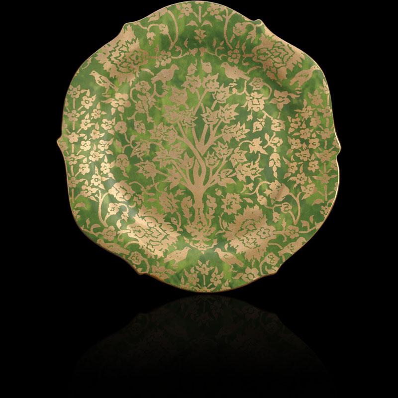 Vassoio Fortuny Alberelli verde tondo grande