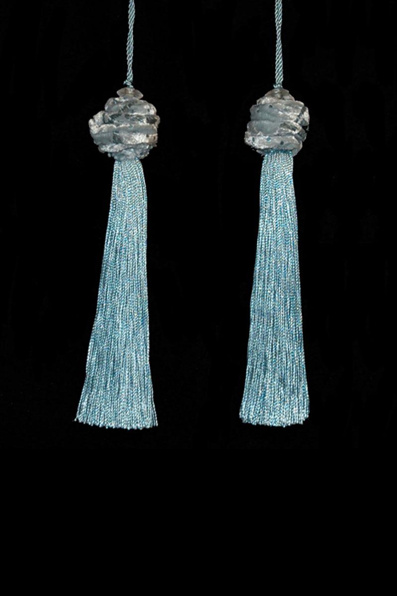 Venetia Studium Turbante couple of  smoke blue tassels