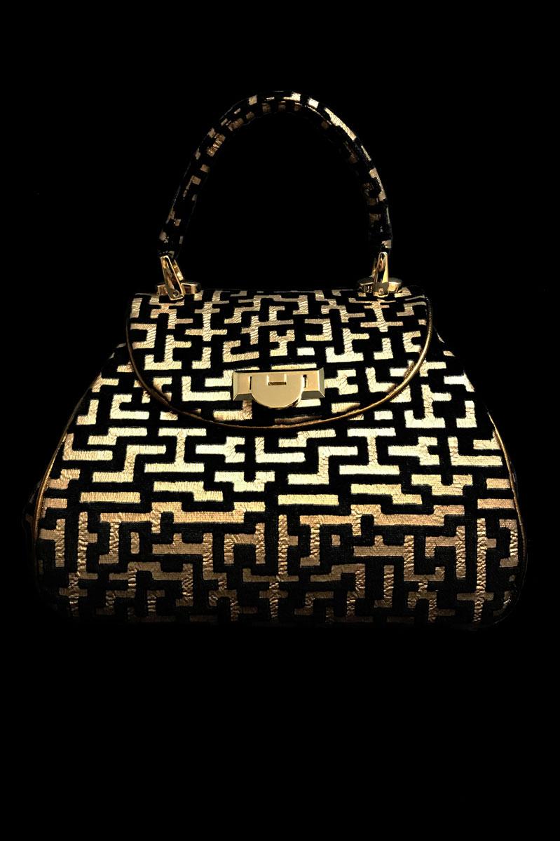 Fortuny Felze Labirinto black velvet bag