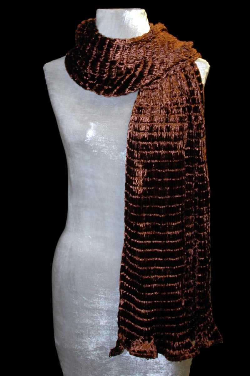 Fortuny cocoa pleated velvet scarf