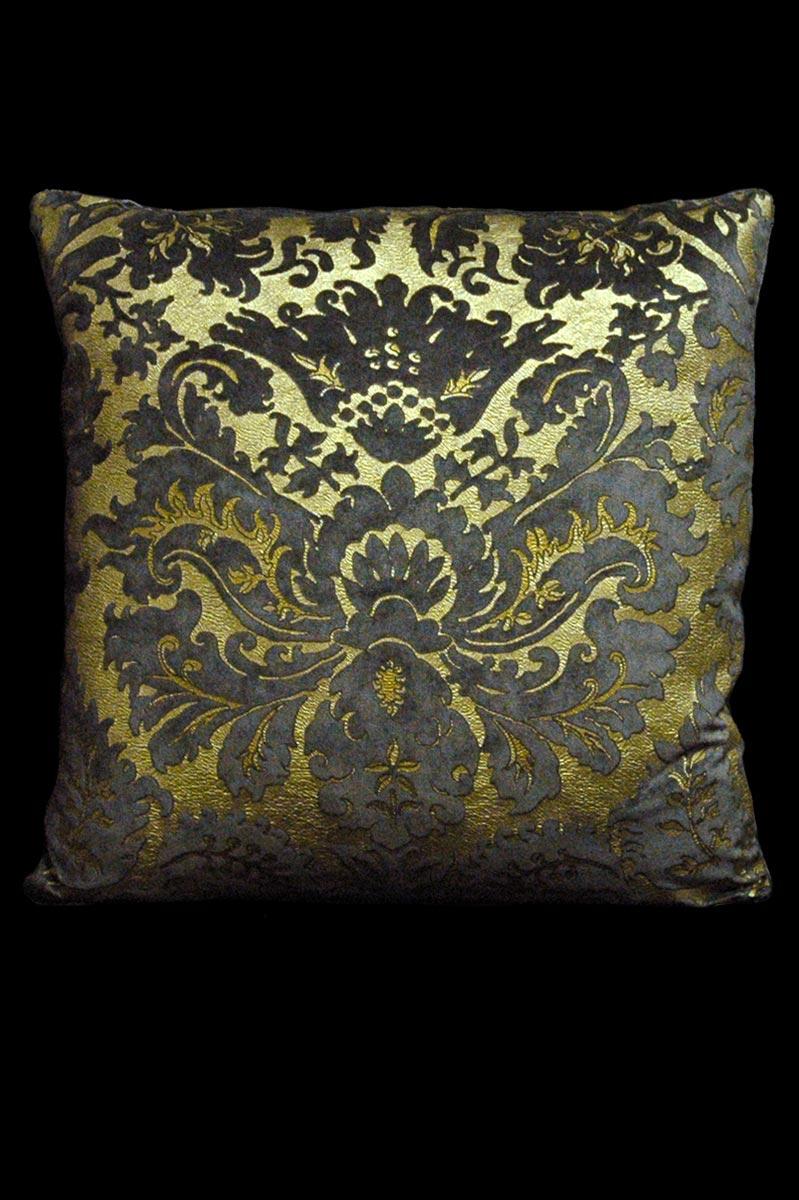 Cuscino quadrato Venetia Studium Barbarigo in velluto stampato grigio scuro