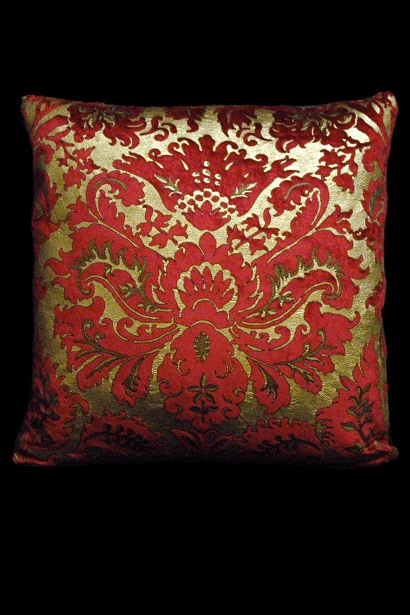 Cuscino quadrato Venetia Studium Barbarigo in velluto stampato rosso