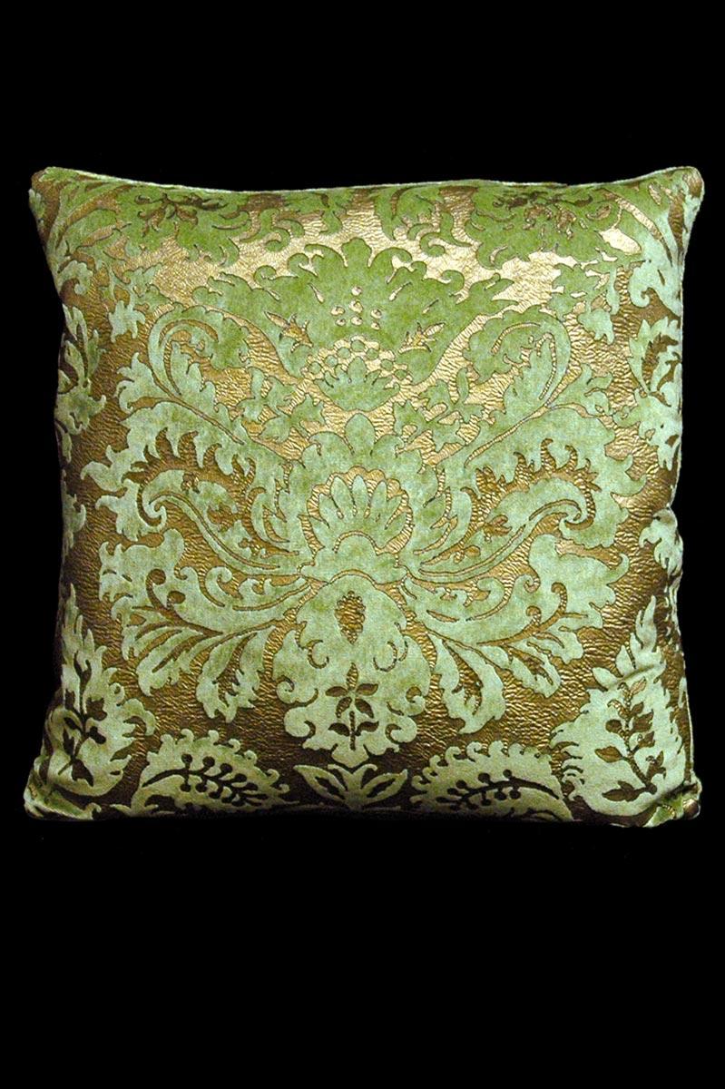 Cuscino quadrato Venetia Studium Barbarigo in velluto stampato verde chiaro