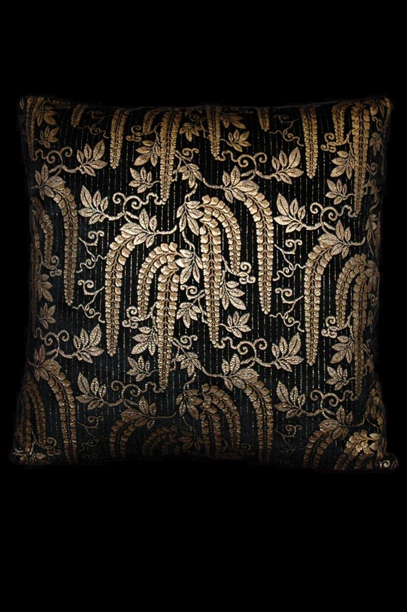 Cuscino quadrato Venetia Studium Glicine in velluto stampato nero