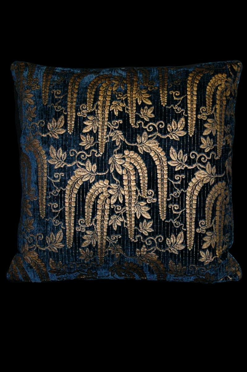 Cuscino Venetia Studium quadrato Glicine in velluto stampato blu