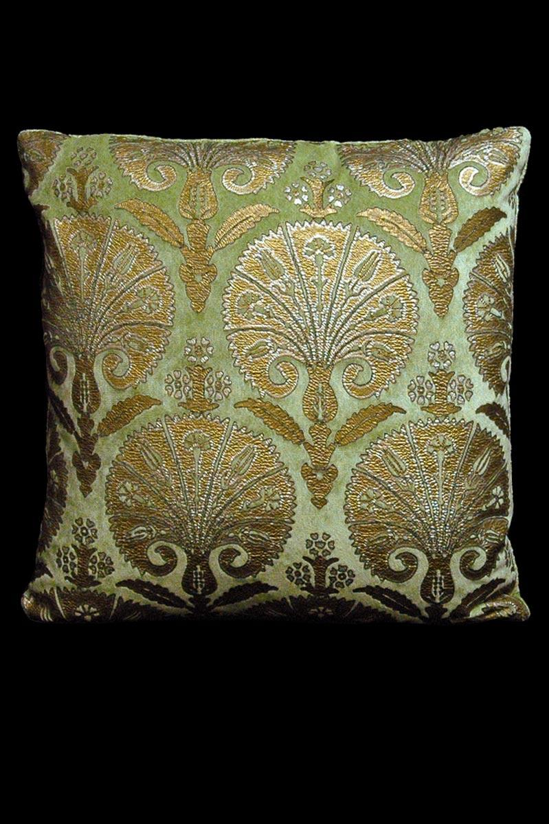 Cuscino Venetia Studium quadrato Istanbul in velluto verde chiaro stampato
