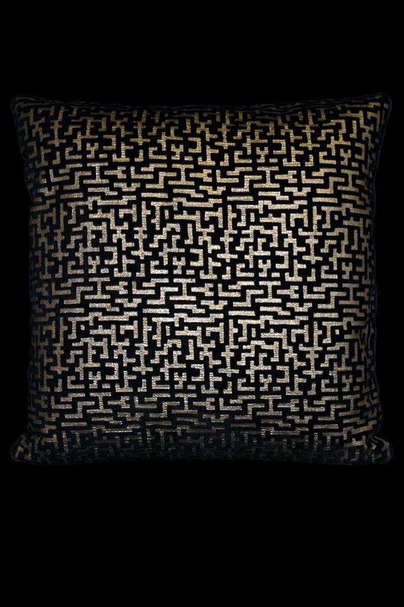 Cuscino quadrato Venetia Studium Labirinto in velluto stampato nero