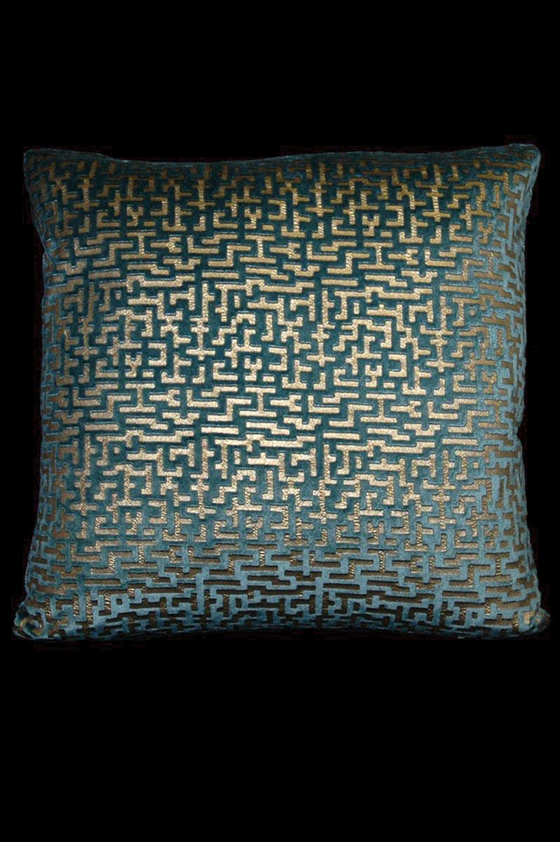 Cuscino quadrato Venetia Studium Labirinto in velluto stampato ottanio