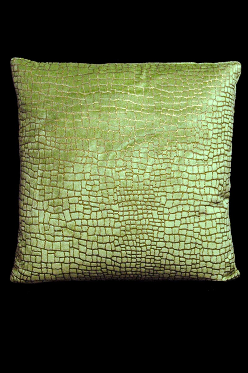 Cuscino quadrato Venetia Studium Mosaico in velluto verde chiaro stampato