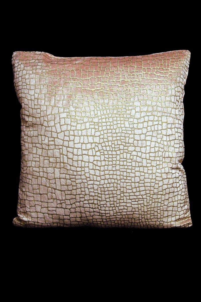 Cuscino quadrato Venetia Studium Mosaico in velluto rosa stampato