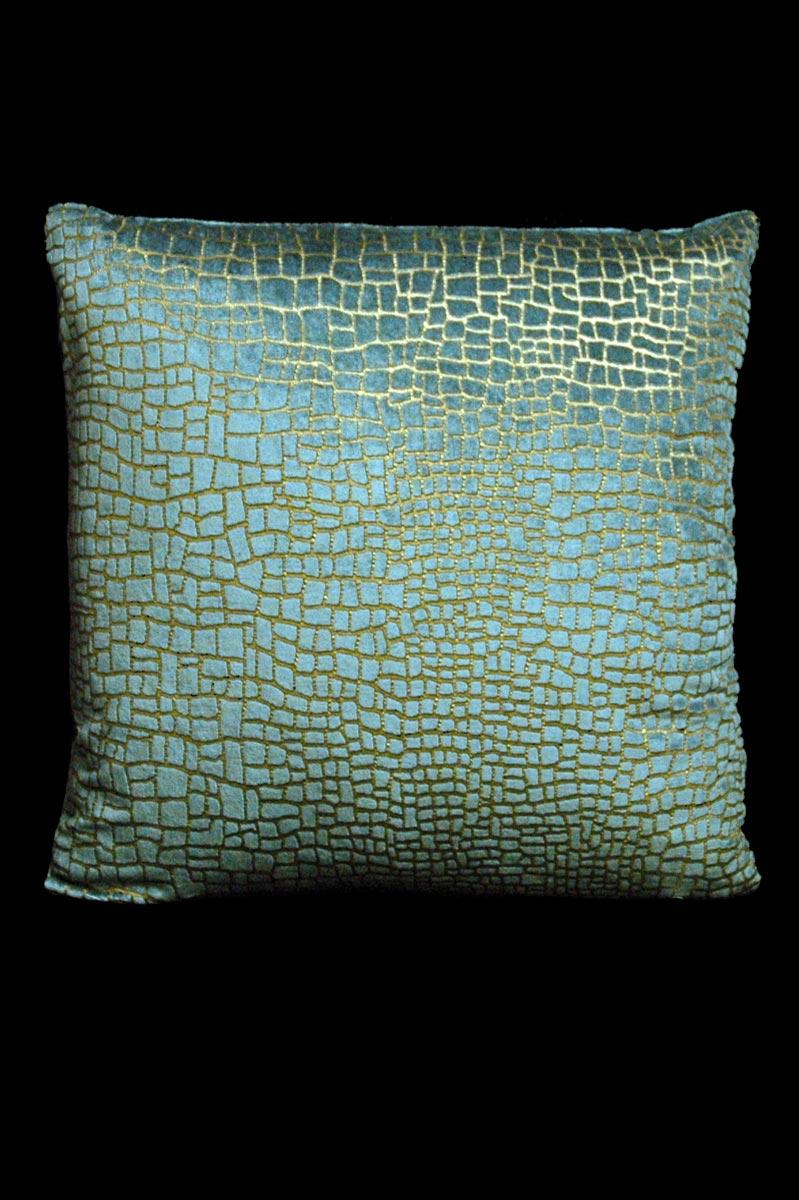 Cuscino quadrato Venetia Studium Mosaico in velluto ottanio stampato