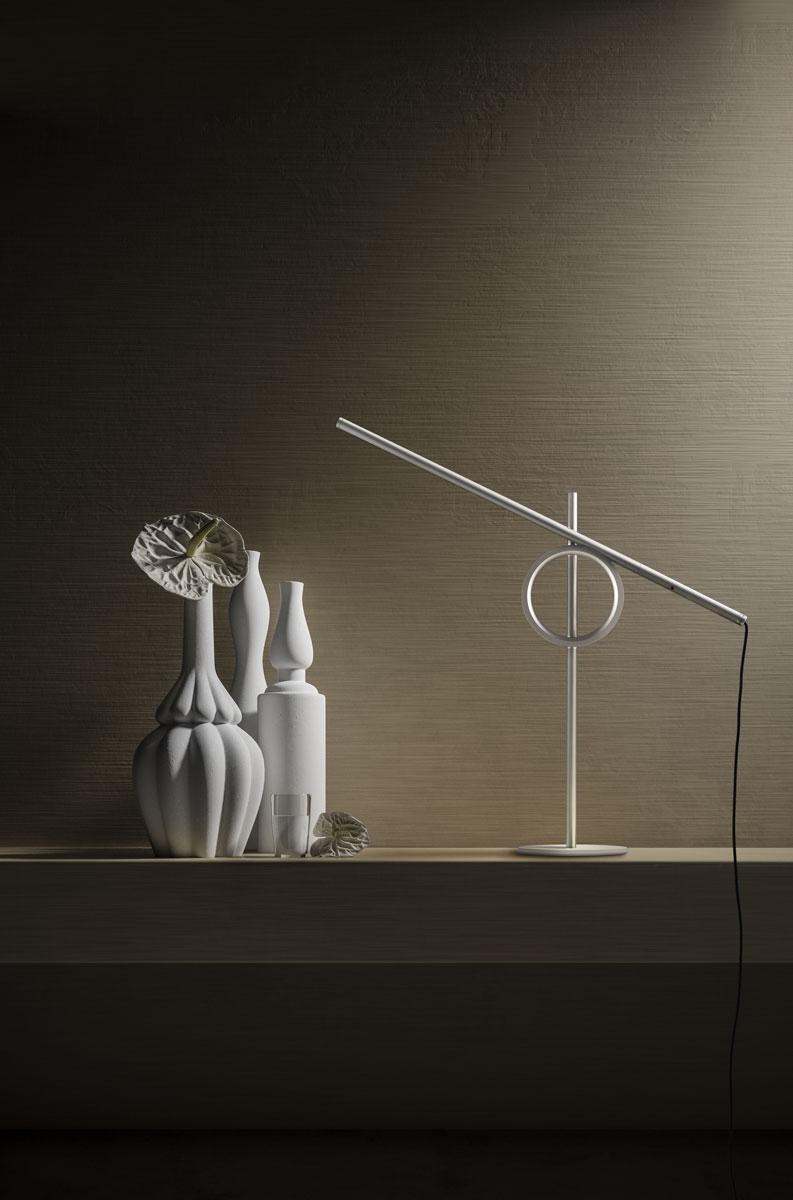 Lampada Pallucco Tangent mini bianca in alluminio e metallo