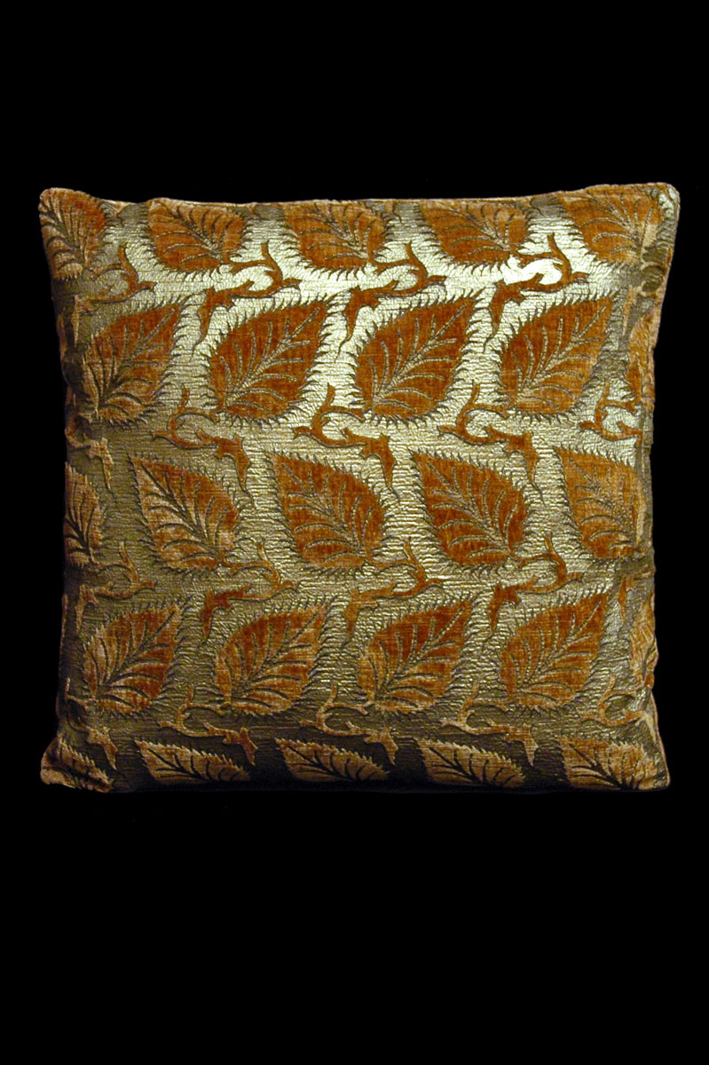 Cuscino Venetia Studium quadrato Helianthus in velluto stampato caramello
