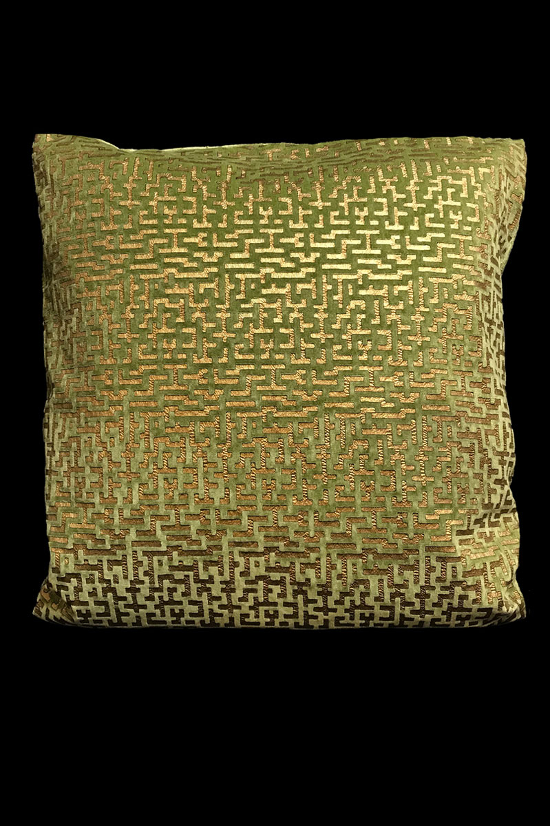 Venetia Studium Labirinto square light green printed velvet cushion front
