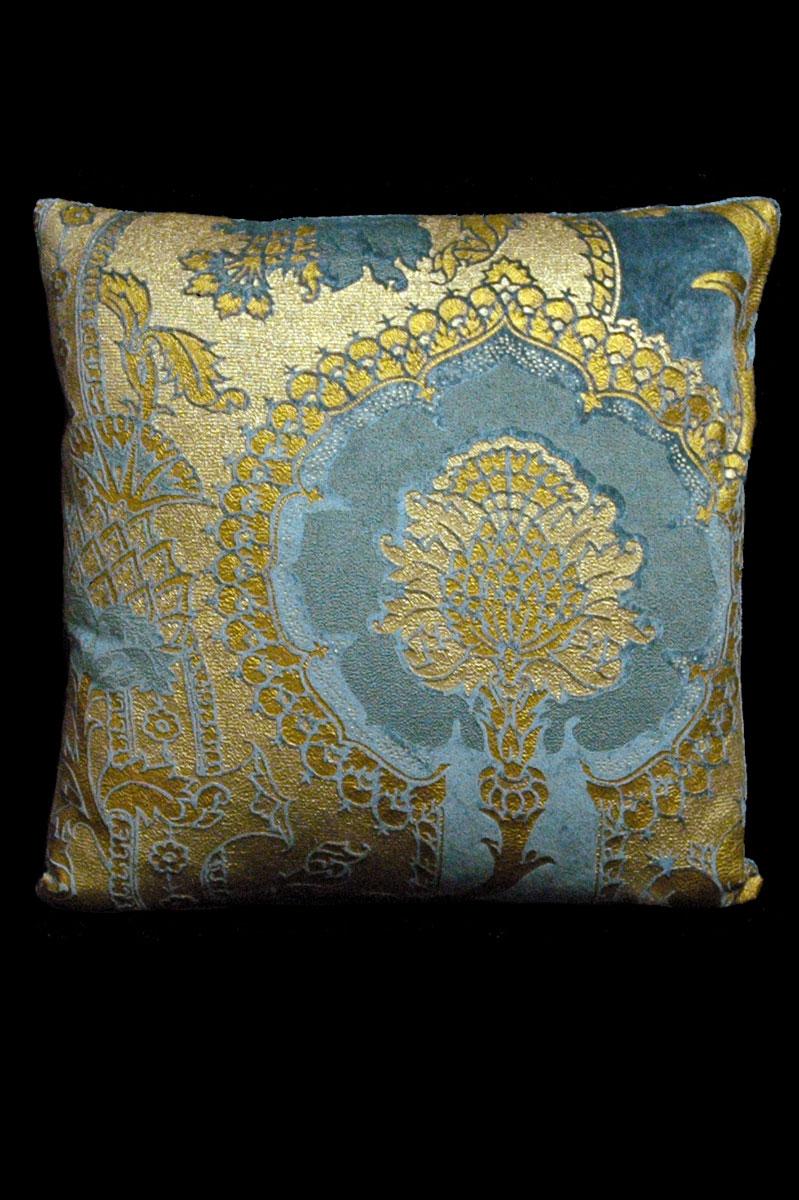 Cuscino quadrato Venetia Studium San Gregorio in velluto stampato ottanio