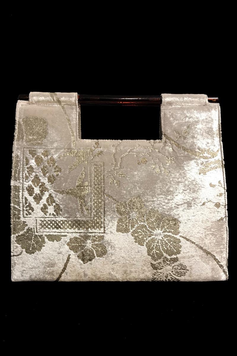Borsa Fortuny Aiko in velluto grigio tortora stampato a mano