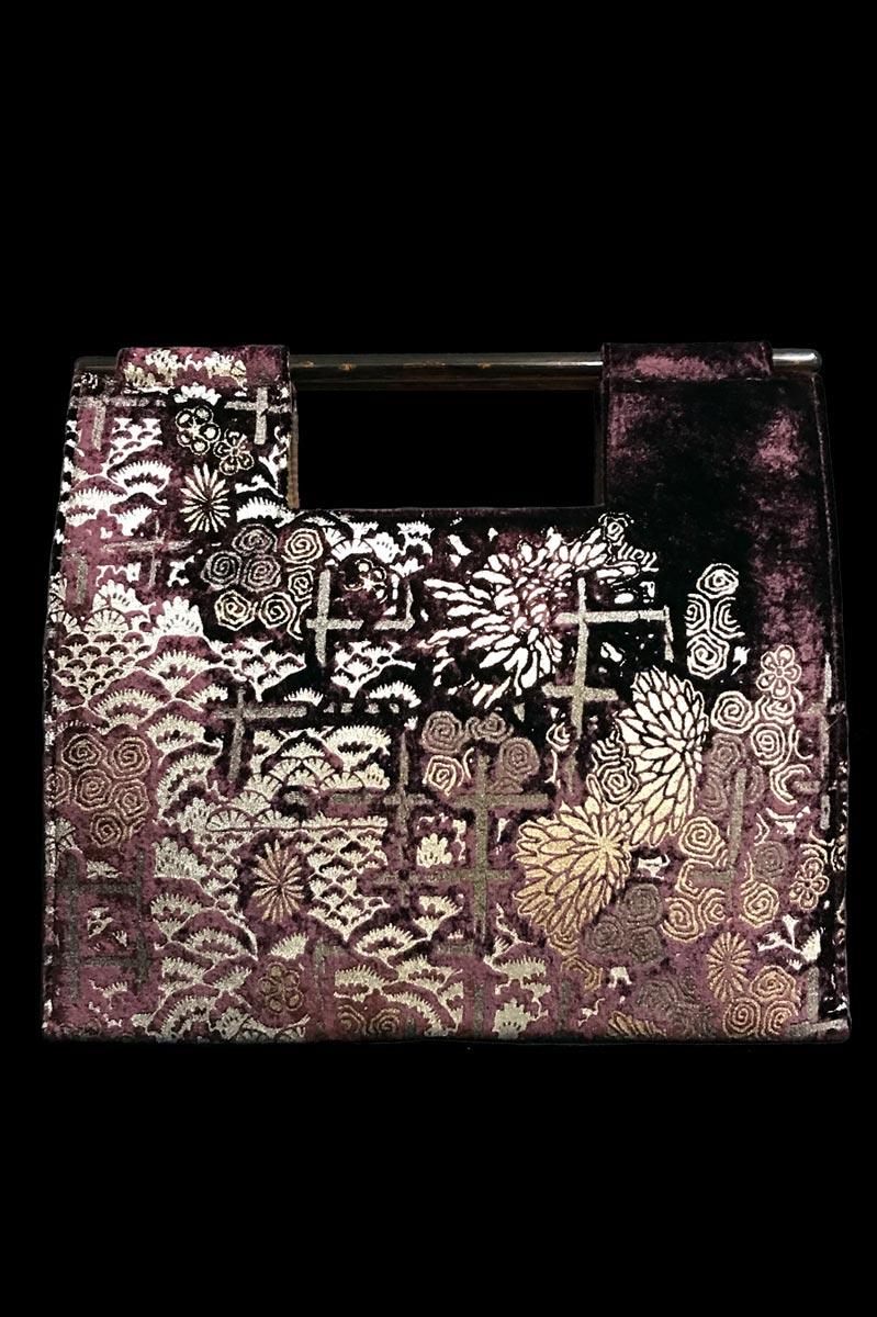 Borsa Fortuny Aiko in velluto melanzana stampato a mano