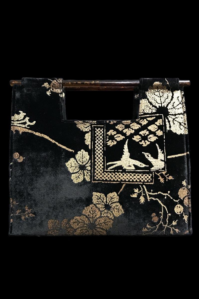 Borsa Fortuny Aiko in velluto nero stampato a mano
