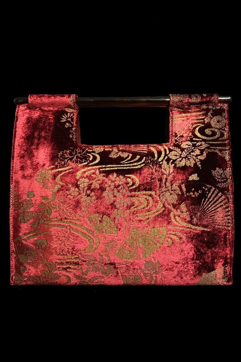 Borsa Fortuny Aiko in velluto rosso rubino stampato a mano