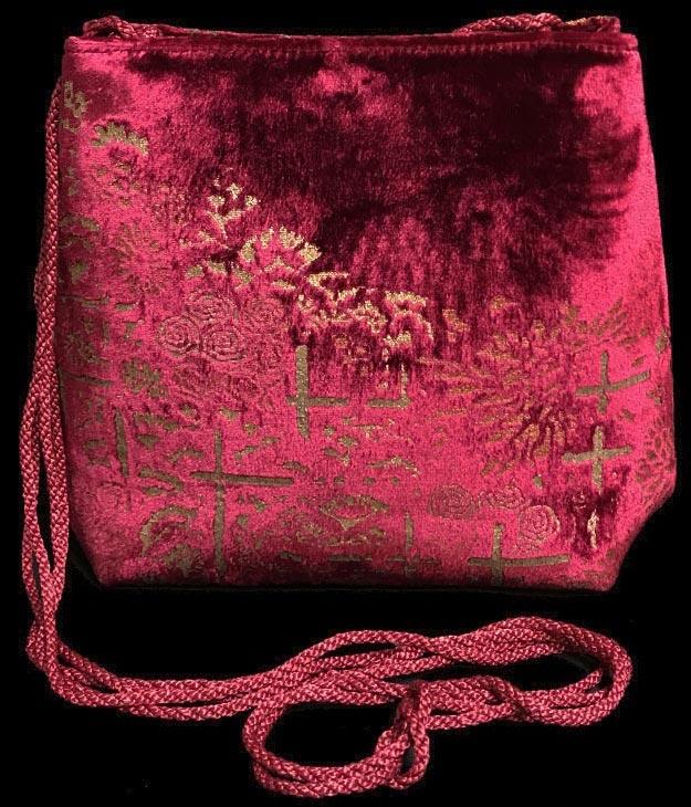Borsa Fortuny Gioia in velluto magenta stampato a mano