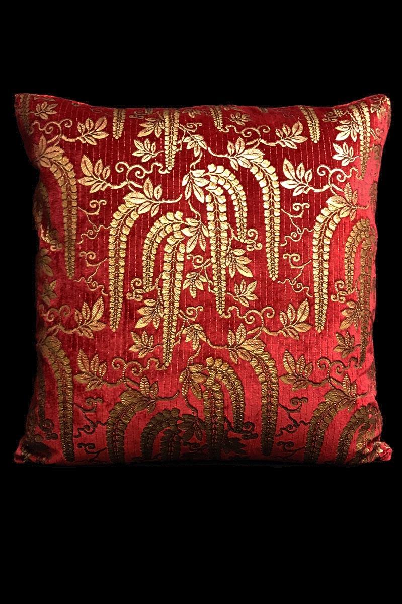 Cuscino Venetia Studium quadrato Glicine in velluto stampato rosso