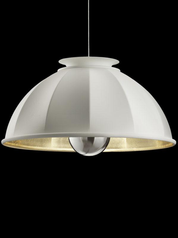 Lampada Fortuny Cupola 76 a sospensione bianca e oro