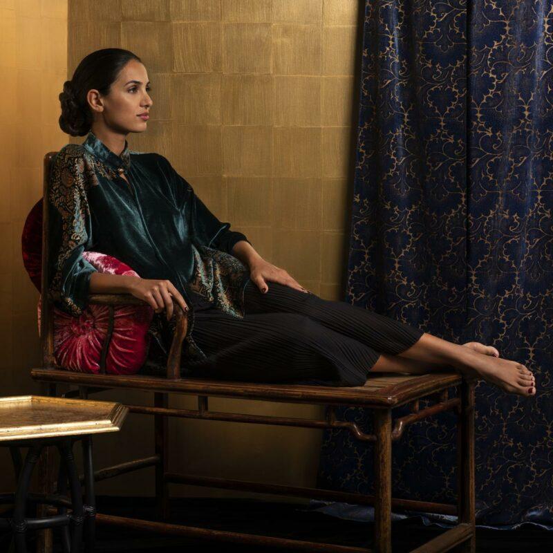 Kimono in velluto stampato